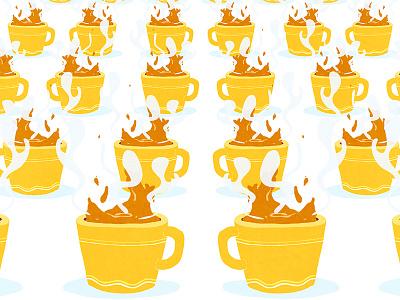 Send coffee, pls. tired monday yellow mug drawing illustration coffee