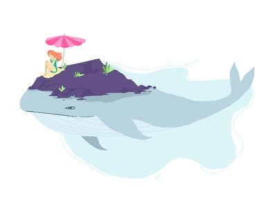 Whale and a girl. summer sealife rock fantasy swim ocean sea girl whale