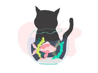 Uuuu big trouble! draw homefishing homefish water illustrationoftheday illustration fishing seaweed hunt fishpool cat fish
