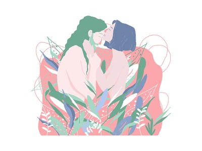 A kiss into the flowers. womenwithpencils womenartists photoshop wacom digitalart spring pink draw illustrationoftheday girls