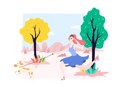 Ups! artist girls park forest dogs drawing illustration