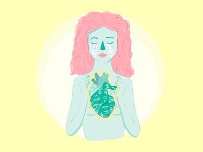 Heart Broken yellow crying cry pinkhair mental illness pain heart woman draw illustration