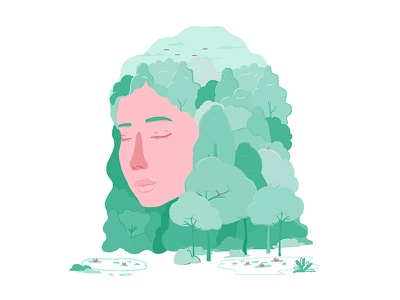 Mother earth face forest trees pastel green life eco ecologism planet girl earth