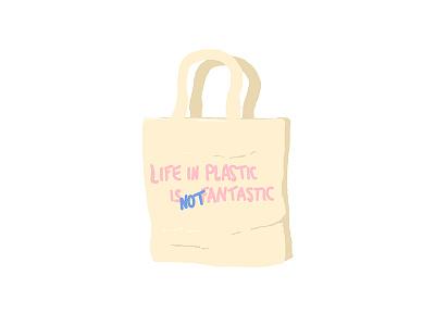 Life in plastic artist photoshop draw womenwhodraw ecologism offplastic zeroplastic eco message bag zerowaste