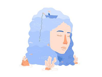 Sea blue hair draw artisst pastel water ecologism seaweed coral fish mar sea