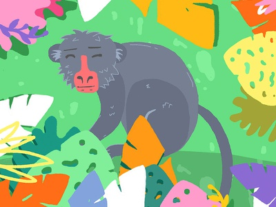 Monkey! tropical plants simius natural pastel monkey animals jungle