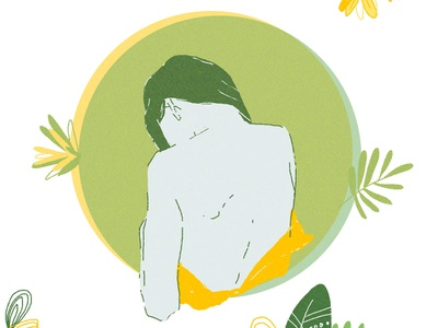 Circle flower clipart geometric circle portrait woman girl tropical yellow green flower
