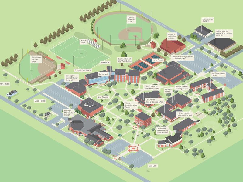 Hesston College Campus Map - update vector map illustration