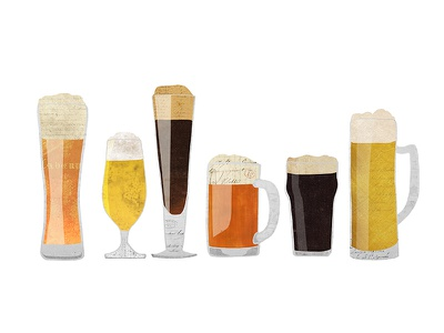 Beer Glasses vintage collage digital collage collage hand-drawn vintage paper alcohol drinking beer mugs beer glasses brewery beer