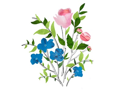 Flowers illustration digital collage hand-drawn collage bouquet nature pink blue flower floral botanical flowers