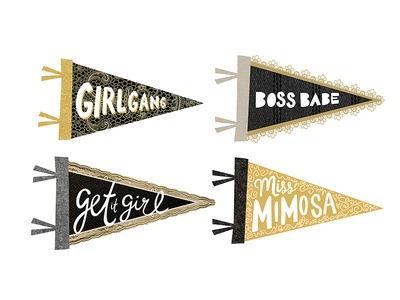 Women Empowerment Pennants sayings miss mimosa boss babe get it girl girl gang hand-drawn collage illustration digital collage collage women empowerment women