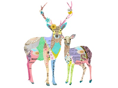Pastel Deer Collage animal collage illustration vintage paper collage illustration digital collage pastel collage animals deer