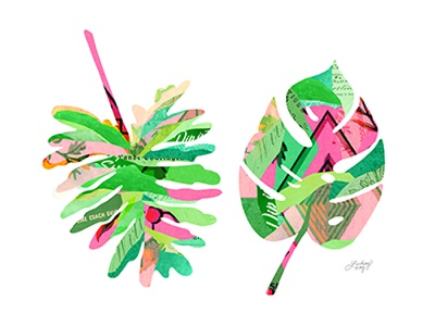 Botanical Leaves lindseykay colorful vintage paper digital collage leaves leaf palm tropical collage botanical