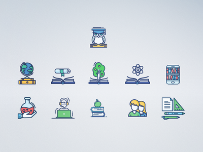 """Icon set for """"Alternative"""" web page school landing landing page page green minimal clean design adaptive design web training education icon"""