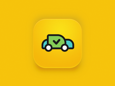 Application icon for Rent a Ride car rental service logo illustration mobile vector ios icon clean flat design car application app