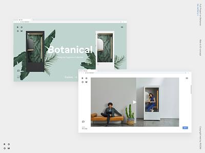 ROOM branding minimalism concept desktop landing web ux ui typography site minimal interface interaction ecommerce design clean business