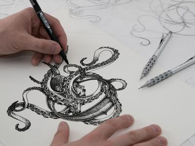 Octopus - Nautical Tattoo Illustration