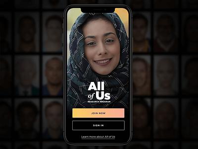 All of Us App Login Screen logo splashpage sign in login ux design mobile branding ui
