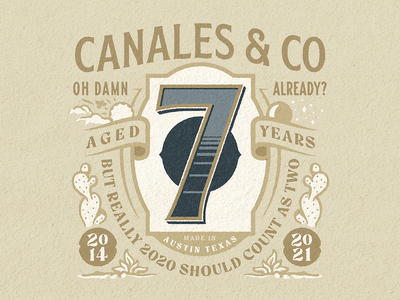 Seven years anniversary branding austin illustration seven 7