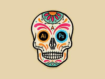 Death By Design sugar skull skull branding texas austin diadelosmuertos halloween logo illustration