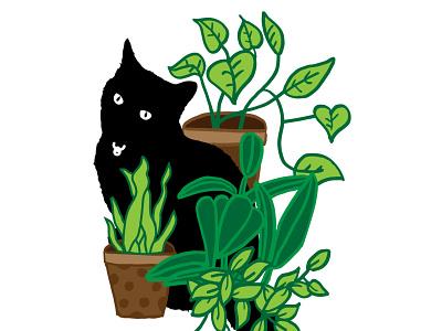 Meryl illustration doodle plants cat