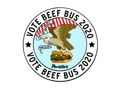 Vote Beef Bus 2020 illustration food truck vote america eagle portillos