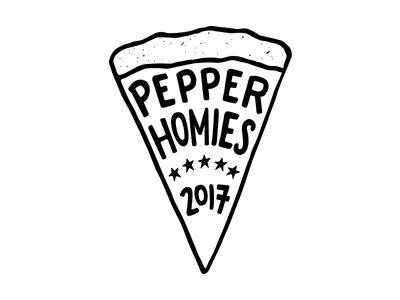 Pepper Homies Logo logo black and white hand illustrated handwriting pizza