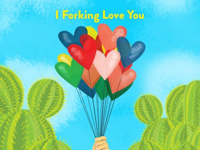 The Good Place Valentine cacti balloons hearts valentine valentines day illustration nbc the good place