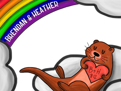 Otter Love hand drawn clouds love otter rainbow