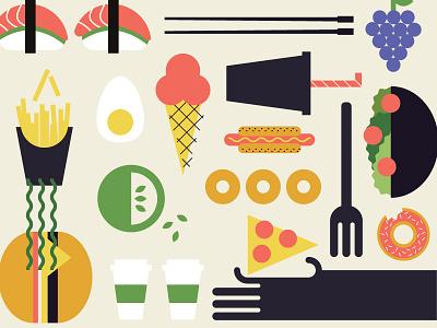 Food Pattern illustration apple grapes fork donut fries sushi hamburger color pattern icons food