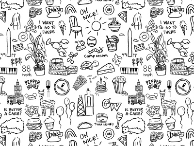 Doodles of my favorite things hedgehog campfire italy london gin and tonic chicago rainbow balloons alpaca cards breakfast sandwiches fries bagel piano turtle doodle