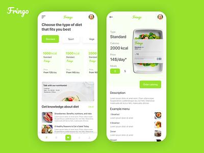 Fringo - Diet Catering App 🥒🍏 knowledge base knowledge menu foodie food health healthy clean concept ui ux design daily ui daily diet app app diet catering
