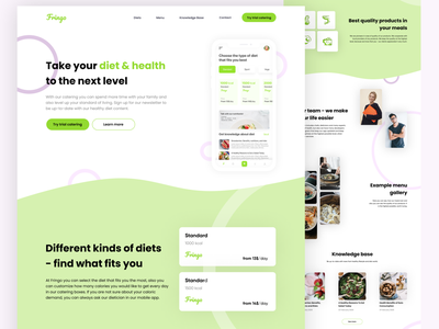 Fringo - Diet Catering Website 🍏 daily ui foodie food dietician diet app catering calories ux  ui ux ui minimal family excercise diet design creative colorful beautiful activity