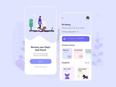 Dog Training App - Become Your Dog's Best Friend 🐶 friend walk pet care pet mobile cats cat dog pets dogs illustration designer dailyui app concept daily ux ui design daily ui