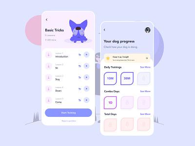 Dog Training App - Next Screens 🐶 illustration gamification fitness app animals dog training streaming app video achievement progress fitness designer app dailyui concept ui daily ux design daily ui