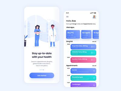 Health Tracker & Reminder App (iOS) pharmacy medical care hospital doctor notification ux ui medicine medical ios interface heart healthcare health flat figma design dashboard blue app