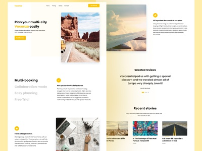 Vacanza - Multi-City Vacation Service travelling trip clean adventure landing page ui holiday vacation travel agency travel app traveling travel landing page landing app concept daily ui daily ui ux design