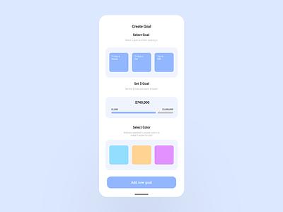 Finance App - Create Goals Flow ux ui financial finance app finance design dailyui daily concept bank app