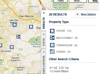On Map Search Results Summary