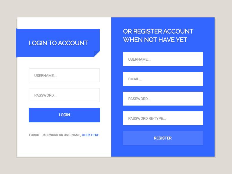1 freebie login u0026 register form by themezium dribbble