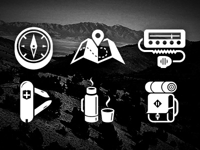 Into The Wild icons compass map cb radio swiss army knife thermos backpack rugged wilderness icon set free