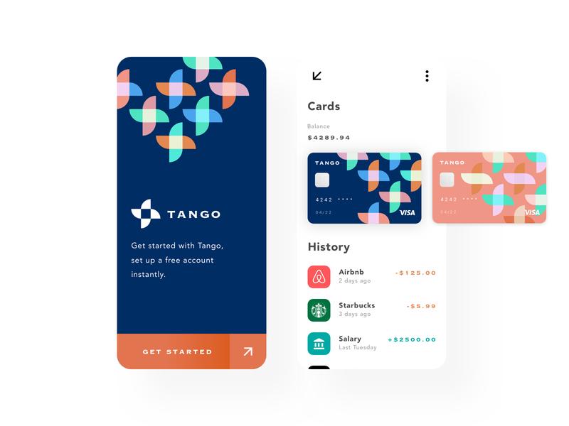Tango Banking App experiment ui design bank app fintech finance banking bank