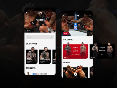 UFC App concept layout design sports fighting mma mobile app fight ufc