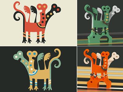 Folk Art Motifs naive folk design illustration vector 3d art