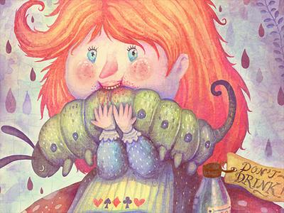 Oh, Alice caterpillar book picture book illustration watercolors colorful alice in wonderland alice
