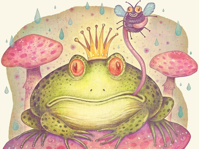 The Frog Prince frog prince frog mushrooms fungi book picture book illustration watercolors colorful