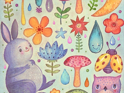Lucky mushrooms fungi owl bunny book picture book illustration watercolors colorful