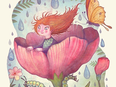 Thumbelina colorful butterfly watercolors illustration picture book book thumbelina flowers