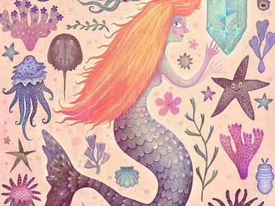The Little Mermaid fairy tale sea life fish little mermaid mermaids mermaid book picture book illustration watercolors colorful