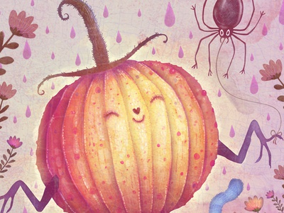 Mr. Pumpkin fun spider pumpkin book picture book illustration watercolors colorful